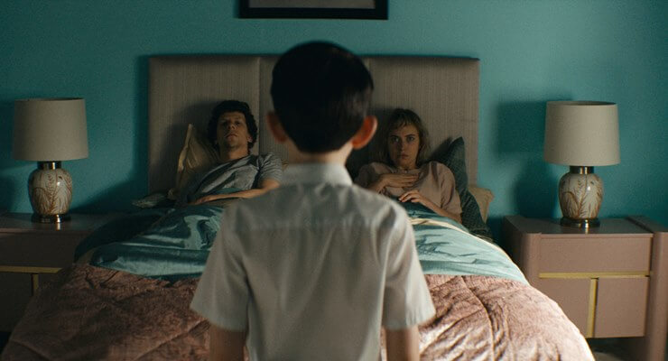 Tom (Jesse Eisenberg) and Gemma (Imogen Poots) go house hunting and find something more in Vivarium.